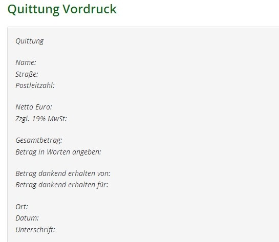 Quittung Vordruck
